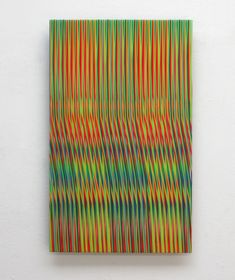 Line 1213-13 (2013) by Ahn Hyun-Ju. Polyester, acrylic and epoxy on aluminum, 52 x 32 cm. Learn more at Artistics.com  #colorful #abstractpainting #minimalism #contemporaryart #ArtisticsGallery