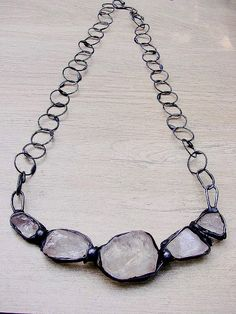 Raw crystal quartz Necklace druzy crystal quartz ecofriendly tin retro charms romantic style forged chain  supreme gift by GepArtJewelery. by GepArtJewellery on Etsy