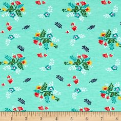 Riley Blake Stretch Cotton Jersey Knit Vintage Floral Mint from @fabricdotcom  From Riley Blake Fabrics, this lightweight stretch cotton jersey knit fabric features a smooth hand and about a 50% four way stretch for added comfort and ease. It is perfect for making for fitting t-shirts, loungewear, leggings and baby/children's apparel.