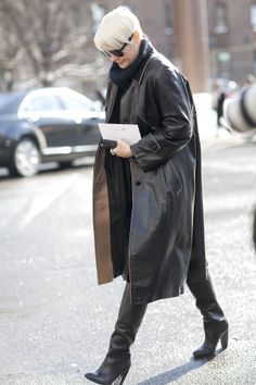 leather clad blackout. #KateLanphear in NYC. (find your perfect leather garments at www.bluegold.nl)