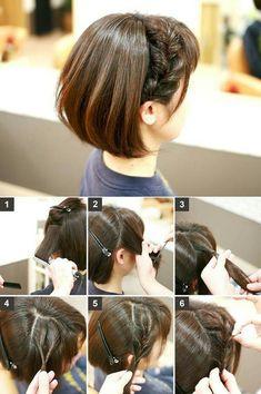 Kawaii Hairstyles, Girl Hairstyles, Braided Hairstyles, Short Hair Hacks, Braids For Short Hair, Haircuts For Fine Hair, Cute Hairstyles For Short Hair, Medium Hair Styles, Curly Hair Styles