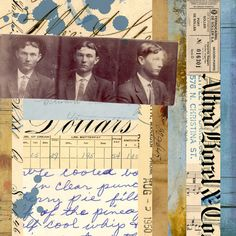 Paper Collage with vintage papers by Carin Andersson