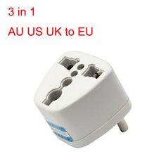 HL Universal AU US UK to EU AC Power Plug Travel Adapter Outlet Converter Socket Apr12