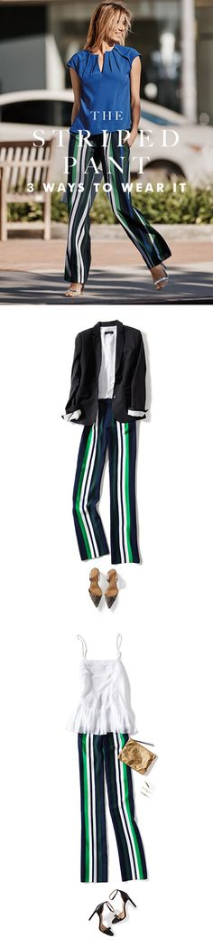 Elizabeth Minett of Haute Appetit (@elizabethminett), is obsessed with Banana Republic's wide-legged striped pant, her favorite new Closet VIP. These bold stripes are office-friendly with a sleek blazer and sling backs, and just as elegant at night with a strappy heel and spaghetti strap top.  Cocktail parties, vacations, or work. These pants just fit. Loose. Elegant. Unexpected. Click here to see more of Elizabeth's spring outfit creations.