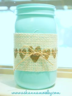 Mason Jar Vases {Gift Idea} - Ask Anna #DIY (in different colors for fall?)