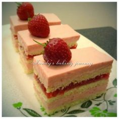 Mandy's baking journey: Strawberry & Raspberry mousse entremets