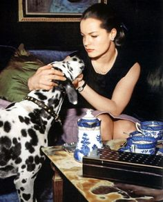 Romy Schneider and a a girl's best friend