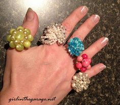 Rings: repurpose vintage earrings into rings to be worn on your hand [diy]