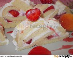 Osvěžující roláda  s tvarohem, lučinou a jahodami Dessert Recipes, Desserts, Cheesecake, Rolls, Food, Tailgate Desserts, Deserts, Cheesecakes, Buns