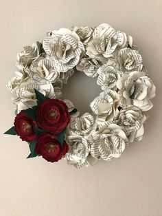 Blumenkranz Paper Flowers Wreath Paper Flowers Book Wreath Book Flowers image 3 Your One Year-Old's Paper Flower Wreaths, Paper Flowers Diy, Paper Roses, Flower Crafts, Floral Wreath, Craft Flowers, Old Book Crafts, Book Page Crafts, Paper Crafts