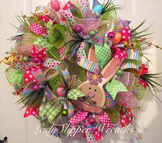 Deco Mesh WreathSpring WreathEaster by LadySlipperWreaths on Etsy
