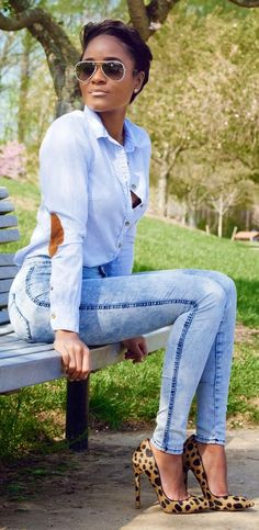 H&m Blue Pinstripe Button Up Shirt by The Daileigh