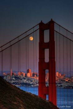 Golden Gate Bridge with full moon, San Francisco.   I was there but it was at night, I really wish to go to San Francisco again; a wonderful, amazing city