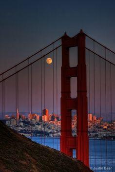 Golden Gate Bridge with full moon, San Francisco Beautiful.