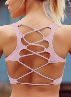 Women's Stretchy Solid Back Cross Cut out Sports Bra
