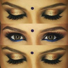 Eye makeup details of lovely Ashvin! We opted for an intense smokey eye with a pop of gold foil+glitter, infused with royal blue lower liner for some color ✨✨  #southasianmakeupartist