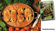 """Tonnino Al Pomodoro Alle Sarde – Sardinian Fresh Tuna - A recipe from """"Italiensk kjøkken på sitt beste"""" (The Italian kitchen at it's best) published by a book club in 1977 - A large part of the cooking of Sardinia takes place over an open fire. This typical fish dish be prepared both outside and inside, and you can use any type of solid fish instead of tuna."""
