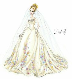 Concept sketch for Cinderella's wedding dress