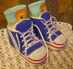 crochet - sneakers - pattern for baby but easy to adjust for adult