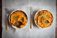 A shepherd's pie with a creamy sweet potato mash  with chickpeas  full of robust Moroccan flavor.