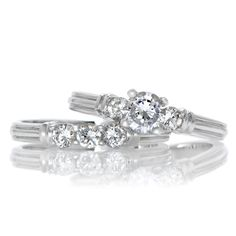 .50 Carat Solitaire CZ Zirconia Petite Wedding Ring Set 925 Sterling Silver 5-12 #PetiteWeddingRingSet
