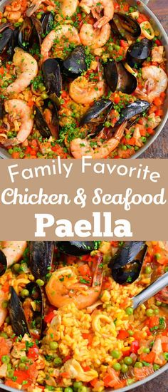 Paella is a beautiful and vibrant rice dish from the Valencia region of Spain. This Paella recipe is packed with saffron infused rice, flavored with onion, peppers, tomatoes, and peas. For our recipe, we love to use a combination of chicken thigh meat, calamari, mussels, and shrimp. Fun Easy Recipes, Easy Chicken Recipes, Fish Recipes, Seafood Recipes, Seafood Paella Recipe, Snack Recipes, Best Paella Recipe, Spicy Salmon, Healthiest Seafood