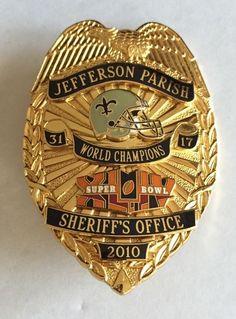 New Orleans Saints Jefferson Parish Police Sheriff NFL Super Bowl Badge 2010 Lee | eBay