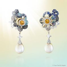 Celebrate Summer Solstice with Van Cleef & Arpels Bellerophon earrings from the High Jewelry collection Bals de Légende. The lively colorful stones and golden pastel pearls offer this creation brilliance and luminosity to welcome the beginning of summertime.