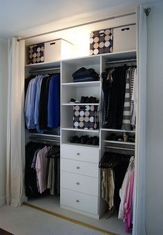 I would do this but put the drawers and shelves at each end ,and the hanging clothes in the middle.