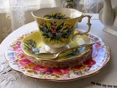 Serena plate under Shaftesbury duo~Rose Chintz Cottage: A Ray of Sunshine for Tea Time