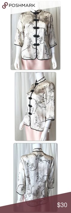"""Yin Xing 100% Silk Asian Inspired Jacket L Pit to pit measures 20"""" Length 26.5"""" Gently Used with no flaws YIN XING Jackets & Coats"""