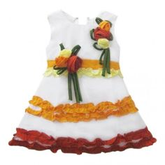 Shu Sam & Smith Girls Frilly Flowery Frock (White) #summerdresses #dressesforgirls #babyfrocks