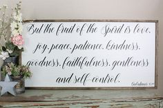 Fruit Of The Spirit Framed Wood Sign Galatians 5 22 Scripture