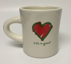 Life Is Good Coffee Mug Cup Red Green Heart Do What You Like Like What You Do