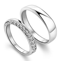 Sterling Silver matching rings for boyfriend & girl friend are always popular. Simple twisted band is for men and shining cz stones ring is for women. Theses silver rings are good promise for matching couples!