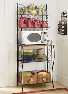 Rooster Bakers Rack from Through the Country Door® Turquoise Kitchen Decor, Rooster Kitchen Decor, Kitchen Decor Themes, Kitchen Redo, Kitchen Remodel, Home Decor, Bakers Rack Decorating, Simple Bed Designs, Bakers Rack Kitchen