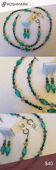 """Handmade OOAK Glass & Swarovski Beaded Jewelry Set Teal glass and Swarovski crystal beads accented with SP findings went into this exquisite creation!  3 piece set includes;  19.5"""" necklace & 8.5"""" bracelet with toggle closures and a pair of 1.875"""" hook earrings with rubber stoppers for security.  Enjoy and thanks so much! Handmade Jewelry"""