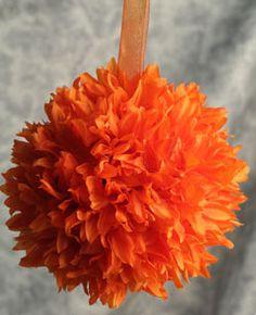 Kissing Pomander Balls - 6 Inch Orange with Organza Ribbon