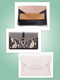 From top to bottom:Narciso Rodriguez bag, $1,250Barneys New York, 212.826.8900    Fendi leather-and-snakeskin envelope clutch, $920Fendi, NYC, 212.759.4646    Givenchy by Riccardo Tisci croc-stamped Antigona envelope clutch, $1,280barneys.com