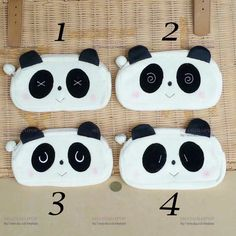 "8"" Panda Makeup Pouch Cosmetic Toiletry Case Travel Purse Fleece Bag Animal New"