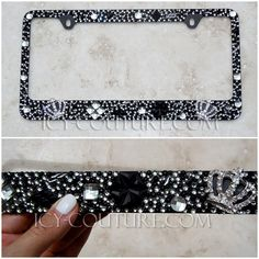 icy couture royal gardens made in old hollywood style license plate frame with swarovski