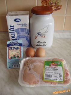kolik máme řízků,tolik vajec, tolik lžic hladké mouky a tolik lžic mléka (3 kuřecí řízky -3vejce-3lž...