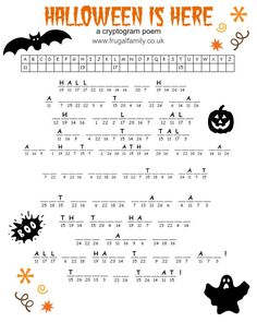 Free Printable Halloween Games - Cryptogram, a Maze and a Word Search. Spooky Halloween fun for a Halloween bash! Halloween Puzzles, Halloween Labyrinth, Halloween Crossword Puzzles, Halloween Word Search, Halloween Worksheets, Halloween Words, Halloween Activities For Kids, Halloween Pictures, Ideas