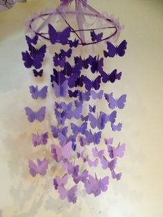 Nursery decoration mobile 3D butterflies, baby girl room mobile in purple. $78.00, via Etsy.