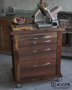 kitchen cart , Carrello da cucina in Noce Nazionale 76x50   www.agorabutsudan.it