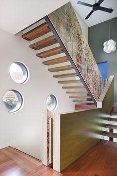 Holztreppe mit Edelstahl-Geländer- modern und stilvoll | fantastic ...