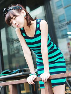 Dresses :: Casual :: happy stripes sleeveless casual dress - Korean Fashion @ 스타일지