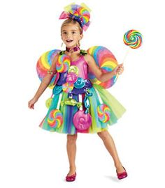 candy fairy costume - know a little girl with a sweet tooth? This fairy is covered in tasty treats, including bright candies dangling around her fluffy tulle skirt.