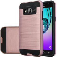 Samsung Galaxy J3 Case - Wydan (TM) Hybrid Hard Shockproof Case Heavy Duty Protective Brushed Phone Rugged Armor Resilient Protector Cover - Rose Gold on Black w/ Wydan Stylus Pen