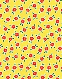 Mary Engelbreit Quilts | Mary Engelbreit Fabric Red Flowers on Yellow Cotton Quilting